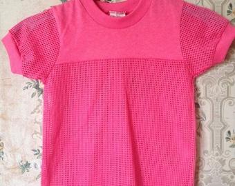 Girls pink mesh top vintage 80s