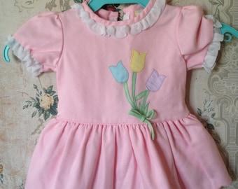 Girls vintage drop-waist pink tulip dress 12m