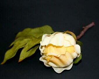 Banana Cream Pie Peony Ball Pick - Boutique Quality - Artificial Silk Flower