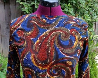 Psychedelic Shirt 1960s Paisley Shirt Vintage Womens Shirt Mod Shirt 60s Mod Hippie Boho Abstract Autumn Colors Boatneck Top Em See Size 34