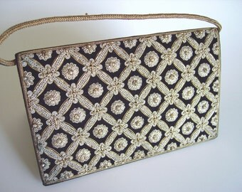 Vintage Zardozi gold embroidered Art Deco / Mid Century black velvet evening bag clutch - Retro holiday accessory