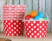 Polka Dot Red Ice Cream Cups with Lids, Sundae Cups, Favor Candy Cups, Paper Ice Cream Cups, Fruit Cups, Large Brownie Cups (8oz - 18 ct)