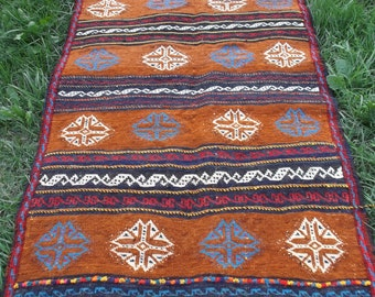 5 ft 2 x 2 ft 5  Nice brown Patterned Afghan Carpet Kilim Rug Hand woven wool. 157 x 76 cm Tapis