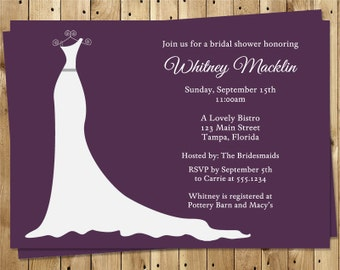 Wedding Gown Bridal Shower Invitations, Dress, Purple, White, Gray, Set of 10 Printed Cards, FREE Shipping, SIGOP, Simple Gown Plum