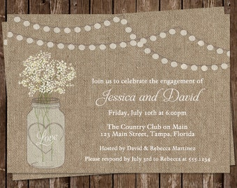 Mason Jar Engagement Party Invitations, Burlap, White, Flowers, Wedding, Set of 10 Printed Cards, FREE Shipping, MAJBP, Burlap Mason Jar