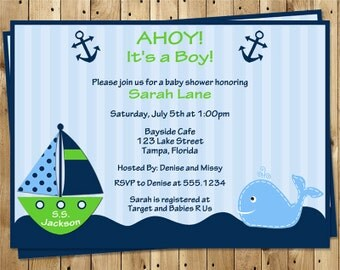 nautical baby shower invitations ahoy its a boy whale sailboat
