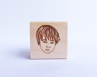 Face Stamp/ Single Portrait/ Custom stamp/ Custom portrait stamp/ Birthday Invitation stamp/ FREE letterings on rubber stamps