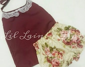 Halter Top and High Waisted Shorts -Baby Toddler Girls Bloomers Shorties - Summer Fall Beach Birthday Gift- Vintage Tan Floral Burgundy Lace