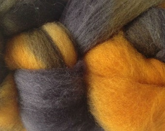 Yellow Gray Black Wool Roving Hand Dyed in Taxi Cab Yellow