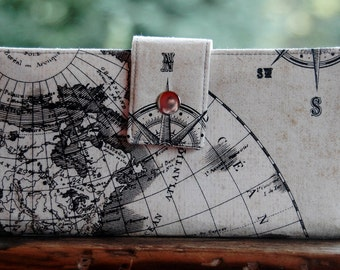 Ready to ship Wallet for women handmade old world map vegan