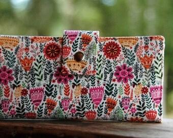 Wallet for women handmade Wild Flowers vegan