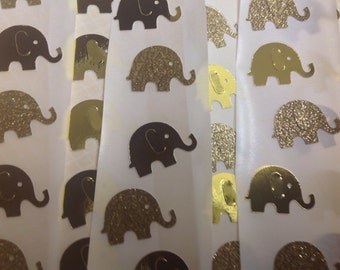 50 pc Gold Mirrored  and Gold Glitter Paper Elephant Stickers