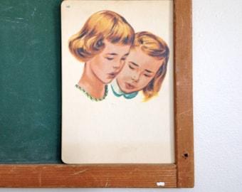 Vintage School Flashcard- Girls