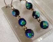 Vintage Carnival Glass Beaded Earrings - Black Peacock Rainbow 50s Upcycled Beads