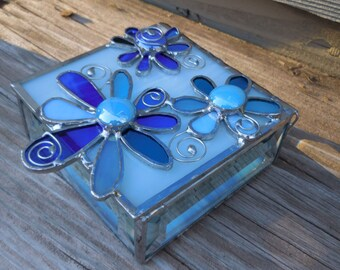 Stained Glass Box with Flowers - Keepsake - Trinkets - Handmade - Blue Glass - Gifts