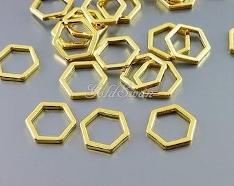 4 shiny polished gold plated brass, 10mm hexagon pendant, honeycomb pendant, geometric jewelry pendant, minimalist 937-BG-10