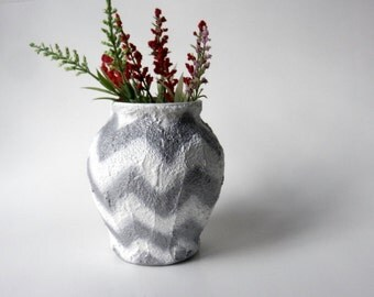 Chevron white and silver Vase / white glass and concrete planter / Modern decor / handcrafted vase / Carriage Oak Cottage