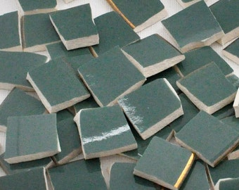 Broken China Mosaic Tiles - Solid Teal - Smooth Tiles - Set of 50