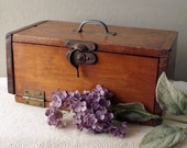 Primitive Wooden Storage Box - Old Wood Container with Metal Hardware