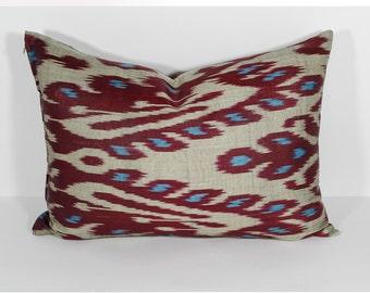 20x14 lumbar ikat pillow cover, lumbar ikat, pillow, long pillow, cream maroon burgundy, uzbek ikat, ikat cushion, pillow, interior design