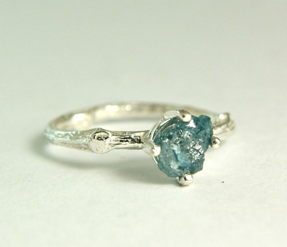Raw Blue Diamond Ring Alternative Wedding By