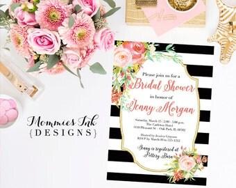 Watercolor Roses Bridal Shower Invitation, Black and White Stripes Shower Invitation, Watercolor Pink Roses, Gold Glitter Invitation