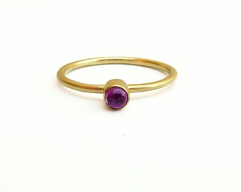 Ruby Ring Gold Ring with stone Ring for women 18K Stacking ring