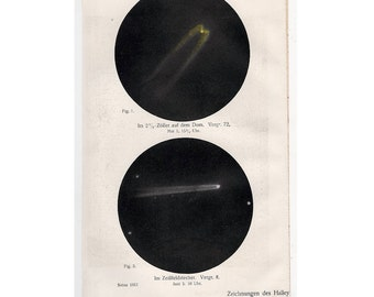 1911 HALLEY'S COMET print original antique celestial astronomy lithograph