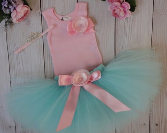 Aqua and Pink Tutu Dress, Baby Girls 1st Birthday Outfit, Flower Girl Dress