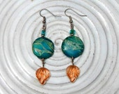 Disc Shape Turquoise and Vintage Glass Earrings