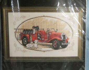 Plaid Bucilla Fire Engine with Dalmation Dog Counted Cross Stitch Kit #43201