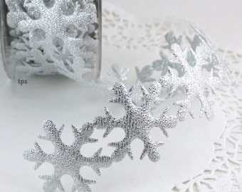 Large Silver Snowflake Ribbon by the yard Christmas Ribbon, Gift Wrap, Crafts, Sewing, Trim, Patterned Ribbon, Scrapbooking, Frozen