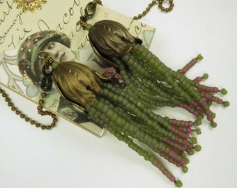 Fan Chain Pair for Ceiling Fan or Lamp with Olive Green and Rose Beaded Fringe and Antiqued Brass Color Findings