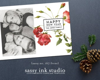 Instant Download - Holiday Photo Card Template - 5x7 photoshop template - New Year card (no. 167)