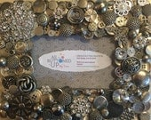 """Silver Metallic Button Picture Frame for 4""""x6"""" photo"""
