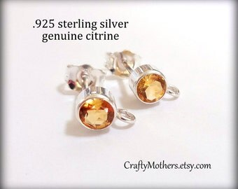 Take 15% off with 15OFF20, CITRINE Gemstone and Sterling Post Earrings w/ backings - 1 Pair (2 pcs), gold yellow, bridal