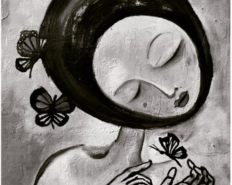 Black and White Monarch Butterfly Art Matted Signed Print Painting 'Cocooning' Figure Face