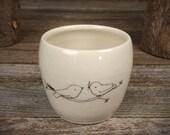 handmade ceramic cup: two birds