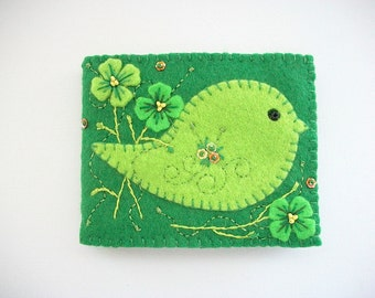 Needle Book Green Felt Needle Case with Light Green Folk Art Bird Hand Embroidered Handsewn One of a kind