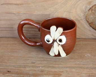 Cute Little Rooster Teacup. 8 Ounces. Chicken Coffee Mug. Funny Face Coffee Cup. Comical Chicken Mug.