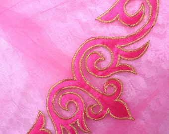 """GB276 Embroidered Applique Pink Gold Metallic Iron On Designer Patch 9.25""""  (GB276-pkgl)"""