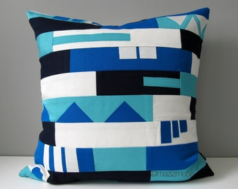 SALE Decorative Pillow Cover, Blue & White Color Block Throw Pillow Case, Modern Tribal Cushion, Geometric Sunbrella, Nursery