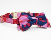 Adjustable Navy Floral Dog Collar with Bow- Floral Dog Collar with Gold Tone Hardware