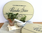 Oval French Farmhouse Placemats Set of 4 Wood Placemats Paris Inspired French Country  Farmhouse Home Decor