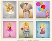 Set of Six pictures - Nursery art- Wall art posters - kids wall art - children decor - wall decor