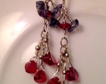 Sterling silver Iolite and Rhodolite Garnet Thread Earrings