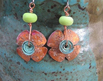 Handmade Distressed Flower Copper Earrings Lampwork Beads