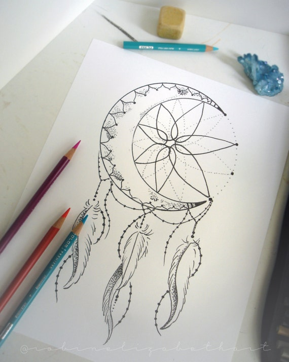 Crescent Moon Dream Catcher Coloring
