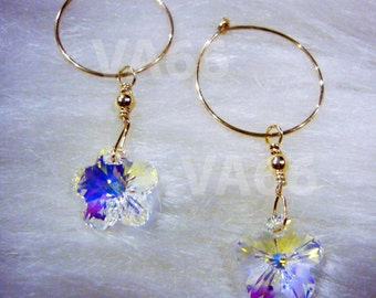 14k Gold Filled Interchangeable 2 Pairs Swarovski Earrings Hoops Flower Colours Bridal Bridesmaids Children Jewelry Flower Girl, Ring Bearer