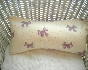 So Sweet..Lavender Bows and Dots Decorative Pillow-Cotton Sateen Waverly Fabric Cover-Envelope Back-Plump and Comfy-One of a Kind